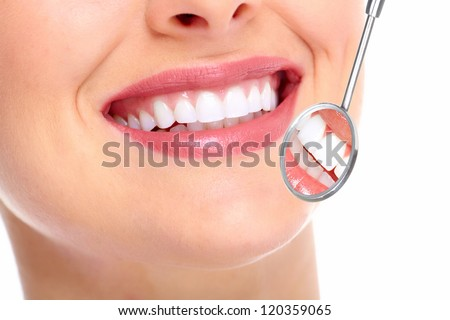 Beautiful young woman smile. Dental health. - stock photo