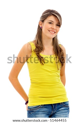Beautiful young woman smiling - isolated over a white background - stock photo
