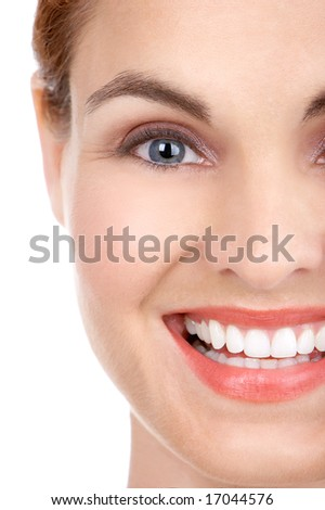 Beautiful young woman smiling. Isolated over white  background - stock photo