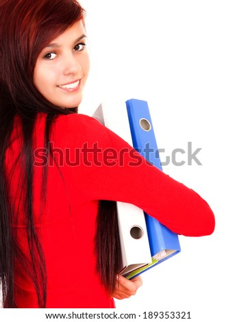 beautiful young woman smiling, white background - stock photo