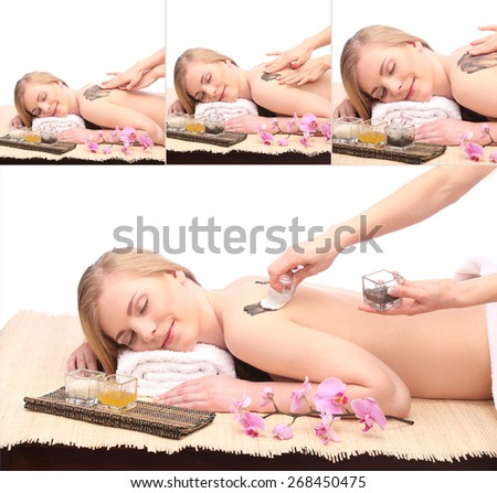 beautiful young woman spa concept, isolated on white studio