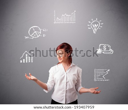 beautiful young woman standin and juggling with statistics and graphs - stock photo