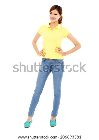 Beautiful young woman standing,isolated on white - stock photo