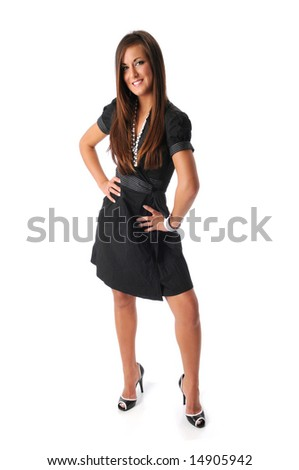Beautiful young woman standing isolated over a white background