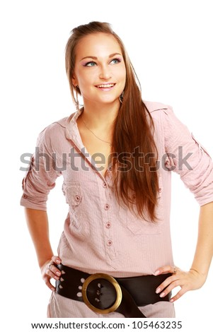 Beautiful young woman standing on white background isolated