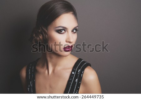 beautiful young woman. stylish hairstyle, make-up art. vivid emotions. retro style. - stock photo