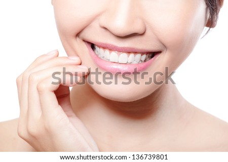 Beautiful young woman teeth close up with finger. Isolated over white background, asian beauty model