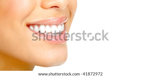 Beautiful young woman teeth. Isolated over  white background - stock photo