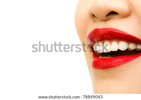 Beautiful young woman teeth. Isolated over white background