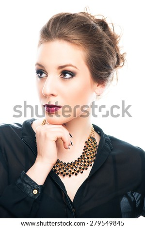 Beautiful young woman thinking, isolated on white - stock photo