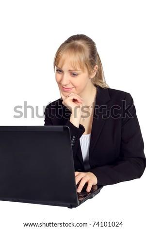Beautiful young woman using her laptop - stock photo