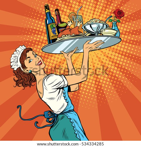 Beautiful young woman waitress in a restaurant, pop art retro  illustration. Tray holiday dinner