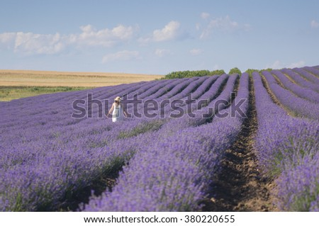 Beautiful young woman wearing a white dress walking in the middle of a lavender field in bloom. - stock photo