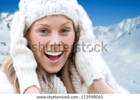 Beautiful young woman wearing woolen clothes - stock photo