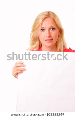 Beautiful young woman with a sheet of paper - stock photo