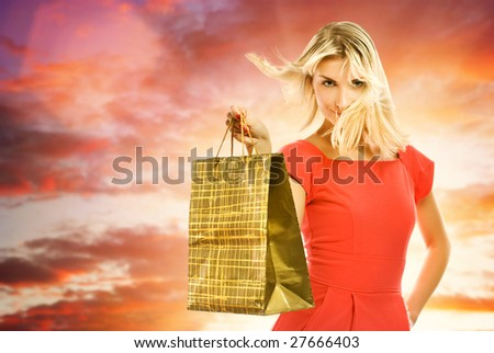 Beautiful young woman with a shopping bag - stock photo