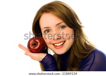 beautiful young woman with an apple isolated against white background - stock photo