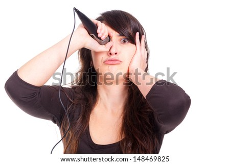 beautiful young woman with an eye patch microphone - stock photo