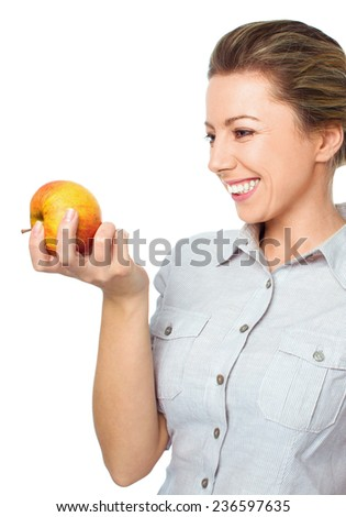 beautiful young woman with apple, isolated on white - stock photo
