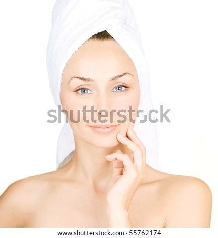 Beautiful Young Woman with bath towel - stock photo