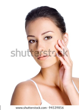 Beautiful young woman with beauty face - stock photo