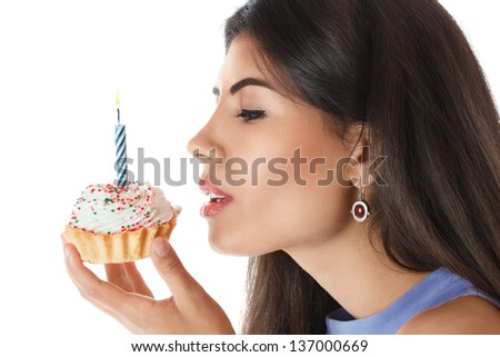 Beautiful young woman with birthday cake isolated over white background - stock photo