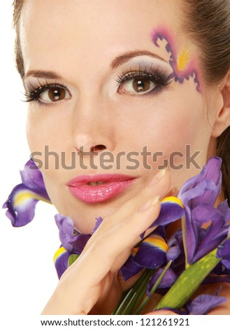 Beautiful young woman with blue flowers, isolated on white background