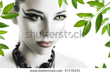 beautiful young woman with bright make-up - stock photo