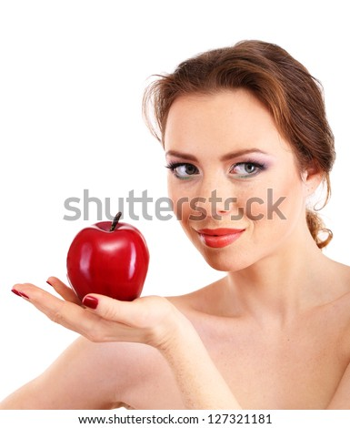 Beautiful young woman with bright make-up, holding red apple, isolated on white