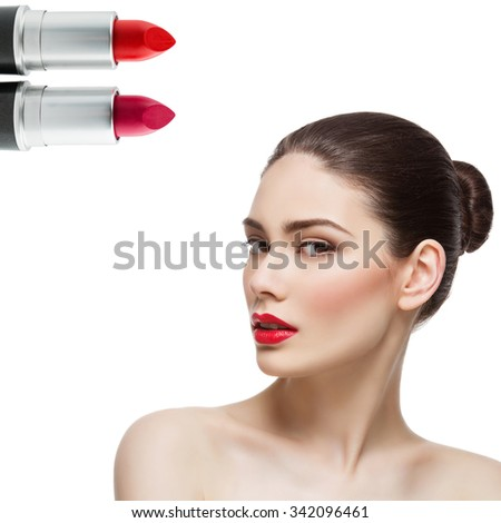 Beautiful young woman with bright red lips isolated over white background. Two lipsticks in corner. Square composition. Copy space. - stock photo