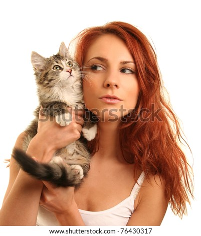 beautiful young woman with cat - stock photo