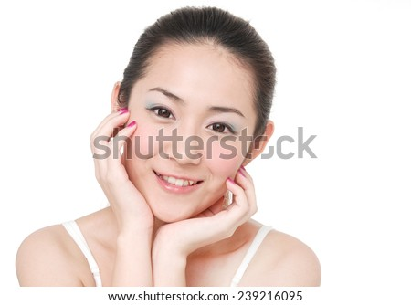 Beautiful young woman with clean skin of the face. Pretty female posing  - stock photo