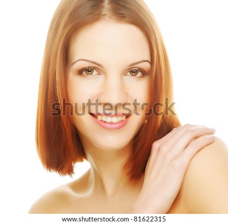 beautiful young woman with clean skin on a white background - stock photo
