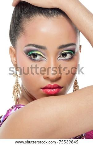 Beautiful young woman with colorful makeup, closeup shot - stock photo