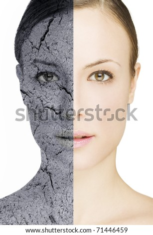 beautiful young woman with cracked and retouched skin - stock photo