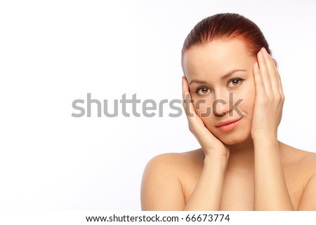 beautiful young woman with denuded shoulders