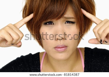 beautiful young woman with depression isolated - stock photo