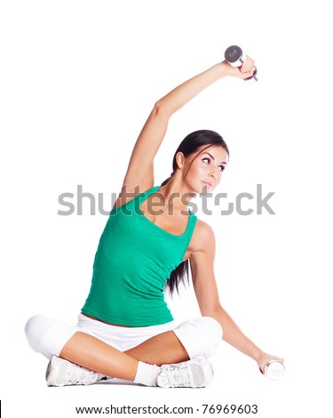beautiful young  woman with dumbbells, isolated against white background - stock photo