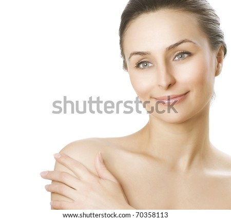 Beautiful Young Woman with fresh healthy skin.Spa woman concept - stock photo