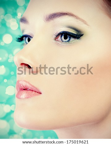 Beautiful young woman with fresh pure skin. Healthcare. Spring.   - stock photo