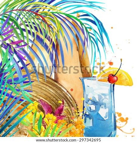 beautiful young woman with fruit cocktail. tropical beach and tropical leaves with exotic flowers. watercolor illustration - stock photo