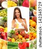 Beautiful young woman with fruits and vegetables and glass of juice - stock photo