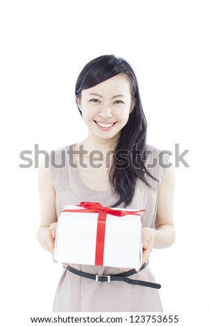 beautiful young woman with gift, isolated on white background