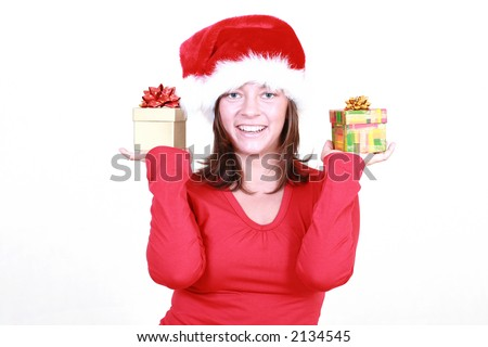 beautiful young woman with gifts - Santa Claus isolated on white