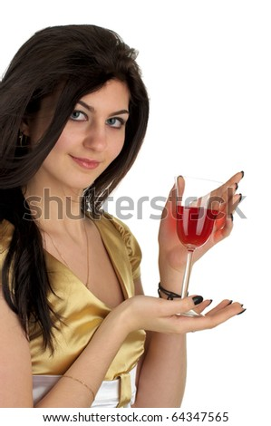 Beautiful young woman with glass of red wine over white background - stock photo