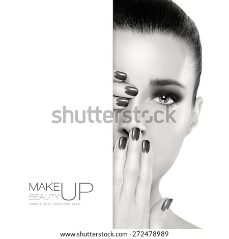 Beautiful young woman with hands on her face covering one eye and mouth. Perfect skin. Nail art and makeup concept. Monochrome Portrait isolated on white. Template design with sample text - stock photo