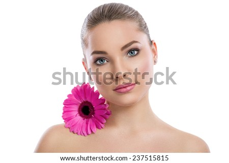 Beautiful young woman with healthy skin face. Skin care concept. - stock photo