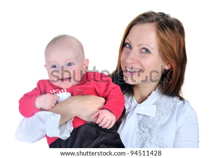 beautiful young woman with her baby son