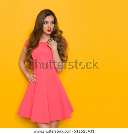 Pensive Beautiful Young Woman Pink Mini Stock Photo 431249164 ...
