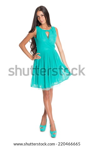 Beautiful young woman with long hair isolated on white background.